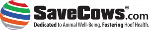 SaveCows.com logo.Sphere.Dedicated tagline.2019